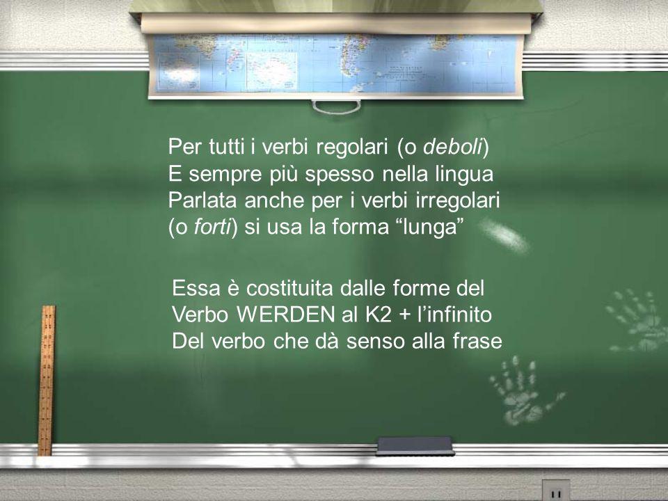 Per tutti i verbi regolari (o deboli) E sempre più spesso nella lingua Parlata anche per i verbi irregolari (o forti) si usa la forma lunga Essa è cos