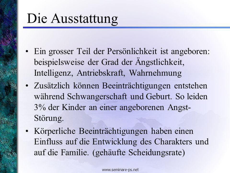 www.seminare-ps.net Die Umwelt Geschwisterfolge: Der Platz in der Geschwisterfolge beeinflusst die Charakterbildung.