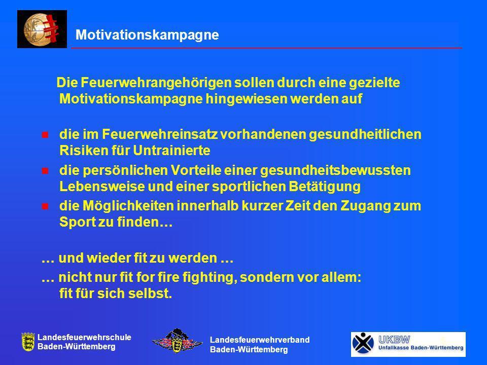 Landesfeuerwehrschule Baden-Württemberg Landesfeuerwehrverband Baden-Württemberg 6 Ziel und Methode Innerhalb eines Jahres sollen möglichst viele Feuerwehrangehörigen einen Leistungsstand erreicht haben, der es ihnen ermöglicht einen Duathlon zu beenden, der besteht aus 5 Kilometer Laufen oder Walken und 20 Kilometer Radfahren