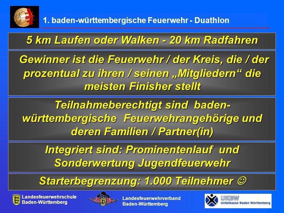 Landesfeuerwehrschule Baden-Württemberg Landesfeuerwehrverband Baden-Württemberg 10 Terminplan Ankündigung in der Brandhilfe (mit Terminplan) April 2004 Monatliche Rezepte vom Sternekoch ab Mai 2004 in der Brandhilfe Seminar der Sportbeauftragten und Laufschule mit Dieter Baumann 14.