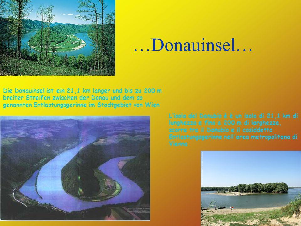 …Donauinsel… Die Donauinsel ist ein 21,1 km langer und bis zu 200 m breiter Streifen zwischen der Donau und dem so genannten Entlastungsgerinne im Stadtgebiet von Wien Lisola del Danubio è è un isola di 21,1 km di lunghezza e fino a 200 m di larghezza, scorre tra il Danubio e il cosiddetto Entlastungsgerinne nell area metropolitana di Vienna