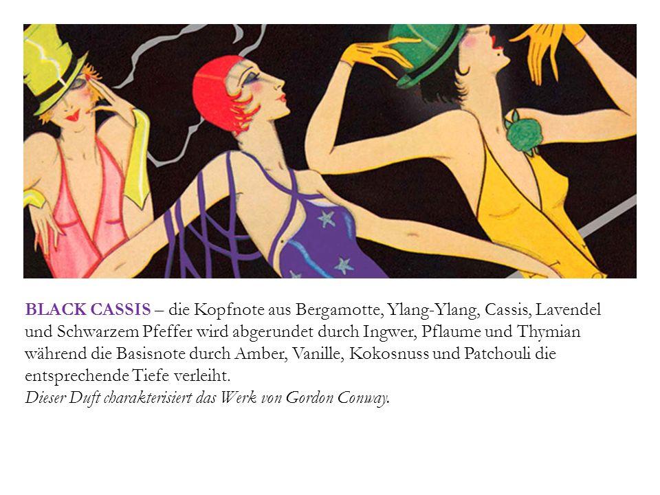 BLACK CASSIS – die Kopfnote aus Bergamotte, Ylang-Ylang, Cassis, Lavendel und Schwarzem Pfeffer wird abgerundet durch Ingwer, Pflaume und Thymian währ