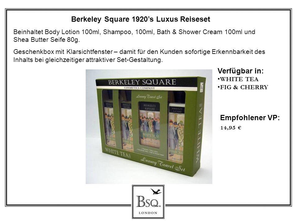Berkeley Square 1920s Luxus Reiseset Beinhaltet Body Lotion 100ml, Shampoo, 100ml, Bath & Shower Cream 100ml und Shea Butter Seife 80g. Geschenkbox mi
