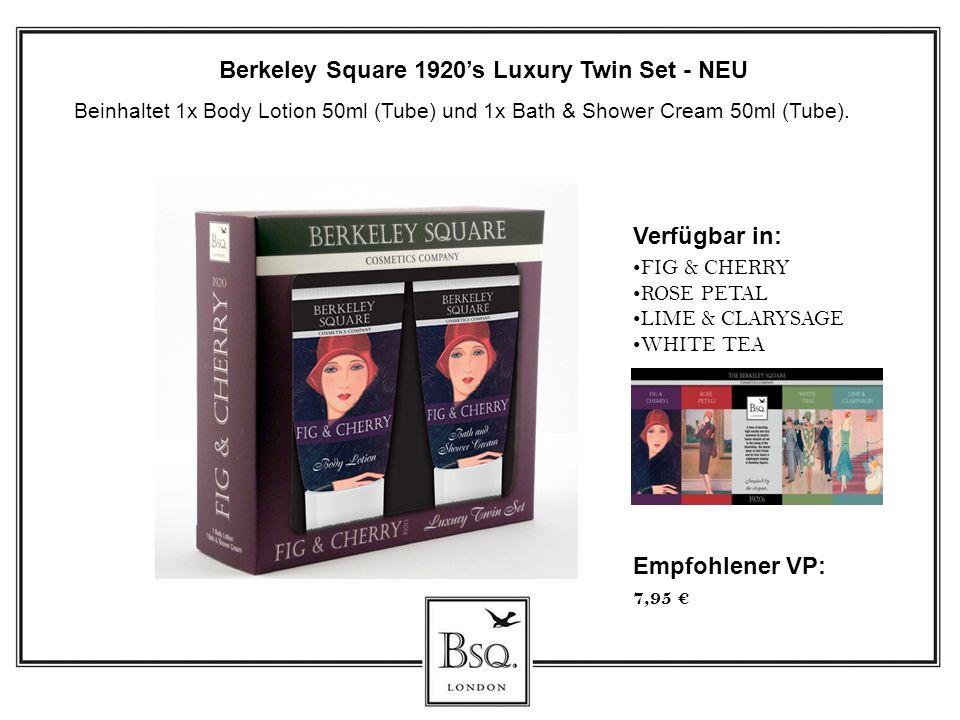 Verfügbar in: FIG & CHERRY ROSE PETAL LIME & CLARYSAGE WHITE TEA Berkeley Square 1920s Luxury Twin Set - NEU Beinhaltet 1x Body Lotion 50ml (Tube) und