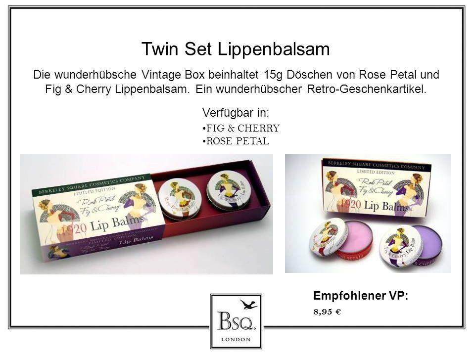 Twin Set Lippenbalsam Die wunderhübsche Vintage Box beinhaltet 15g Döschen von Rose Petal und Fig & Cherry Lippenbalsam. Ein wunderhübscher Retro-Gesc