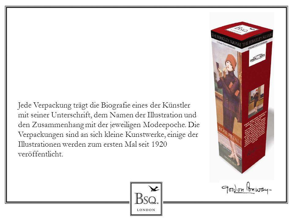 Jede Verpackung trägt die Biografie eines der Künstler mit seiner Unterschrift, dem Namen der Illustration und den Zusammenhang mit der jeweiligen Mod