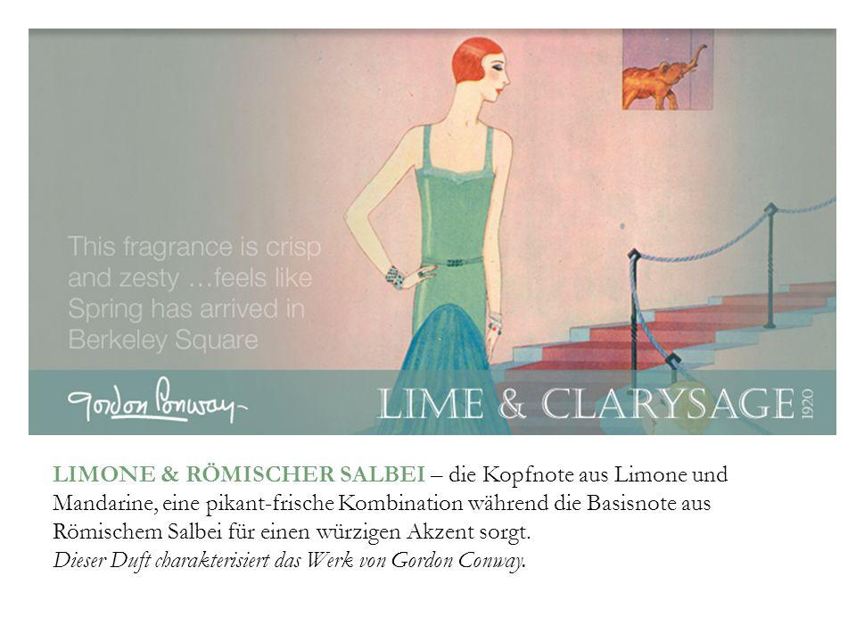 LIMONE & RÖMISCHER SALBEI – die Kopfnote aus Limone und Mandarine, eine pikant-frische Kombination während die Basisnote aus Römischem Salbei für eine