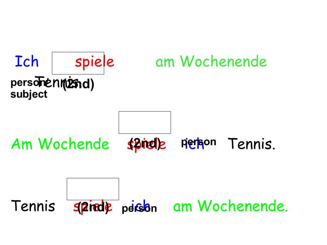 Ich spiele am Wochenende Tennis. Am Wochende spiele ich Tennis. Tennis spiele ich am Wochenende. (2nd) person/ subject person