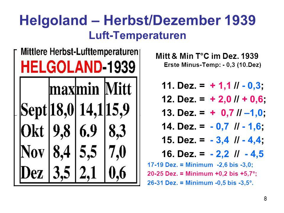8 Helgoland – Herbst/Dezember 1939 Luft-Temperaturen Mitt & Min T°C im Dez. 1939 Erste Minus-Temp: - 0,3 (10.Dez) 11. Dez. = + 1,1 // - 0,3; 12. Dez.