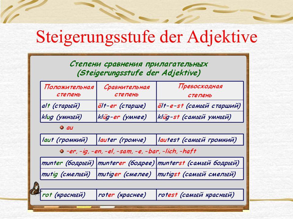 Steigerungsstufe der Adjektive
