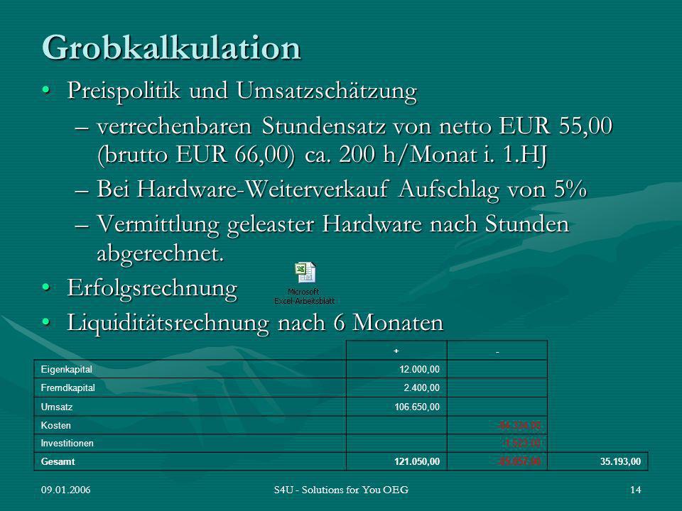 09.01.2006S4U - Solutions for You OEG14 Grobkalkulation Preispolitik und UmsatzschätzungPreispolitik und Umsatzschätzung –verrechenbaren Stundensatz v