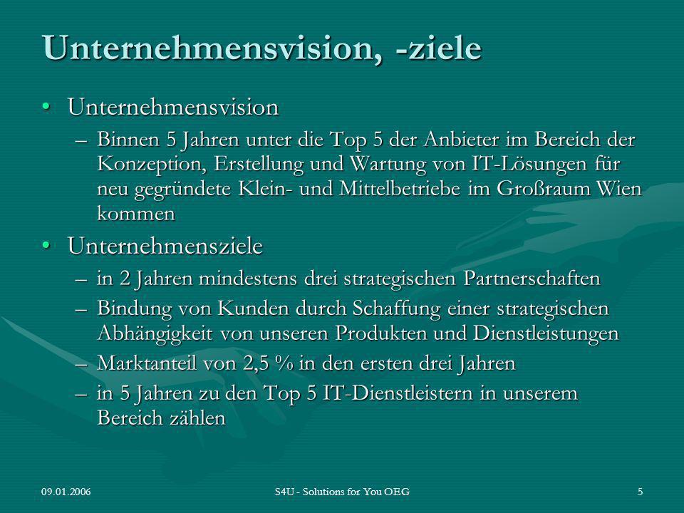 09.01.2006S4U - Solutions for You OEG5 Unternehmensvision, -ziele UnternehmensvisionUnternehmensvision –Binnen 5 Jahren unter die Top 5 der Anbieter i