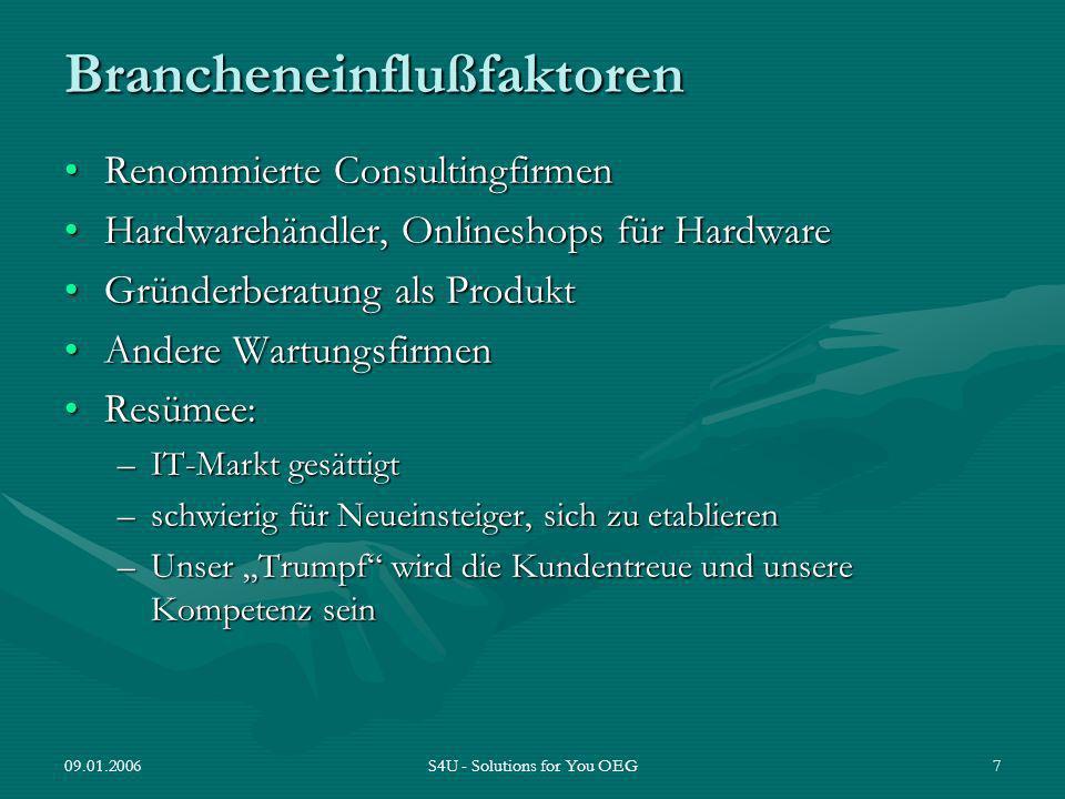 09.01.2006S4U - Solutions for You OEG7 Brancheneinflußfaktoren Renommierte ConsultingfirmenRenommierte Consultingfirmen Hardwarehändler, Onlineshops f