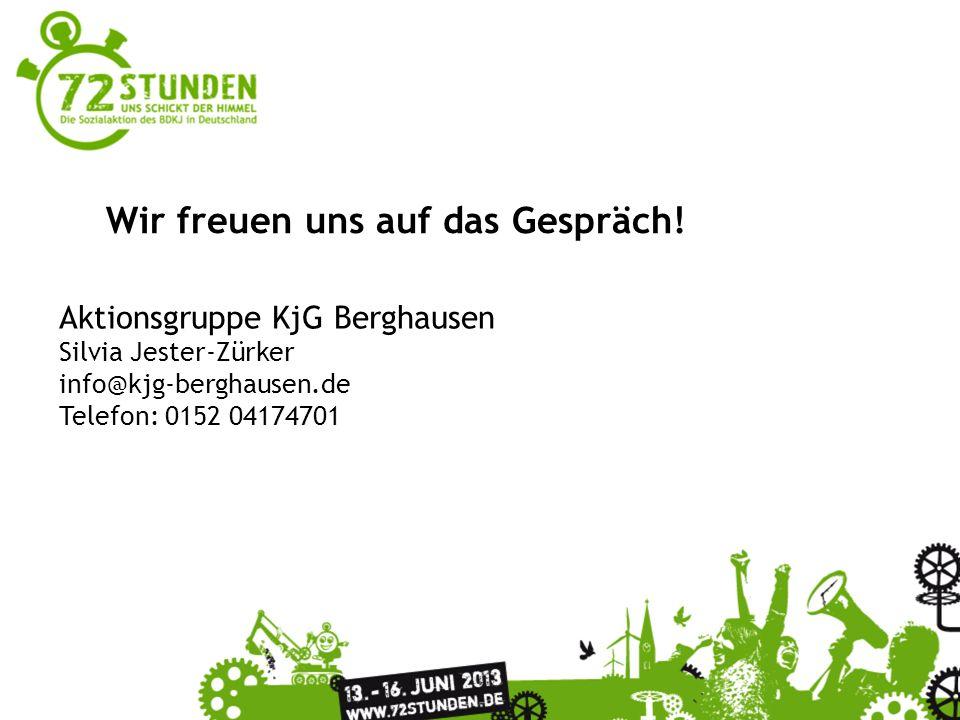Wir freuen uns auf das Gespräch! Aktionsgruppe KjG Berghausen Silvia Jester-Zürker info@kjg-berghausen.de Telefon: 0152 04174701