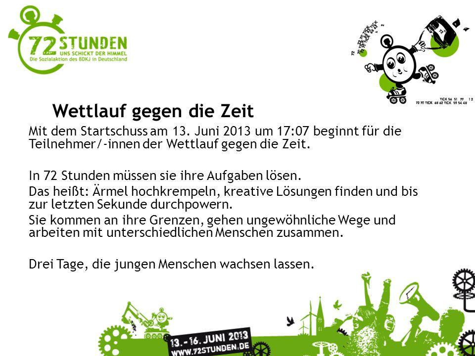 Überschrift Passender Untertitel zur Präsentation Wettlauf gegen die Zeit Mit dem Startschuss am 13. Juni 2013 um 17:07 beginnt für die Teilnehmer/-in