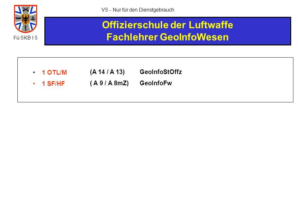 VS - Nur für den Dienstgebrauch Offizierschule der Luftwaffe Fachlehrer GeoInfoWesen 1 OTL/M 1 SF/HF (A 14 / A 13) ( A 9 / A 8mZ) GeoInfoStOffz GeoInf
