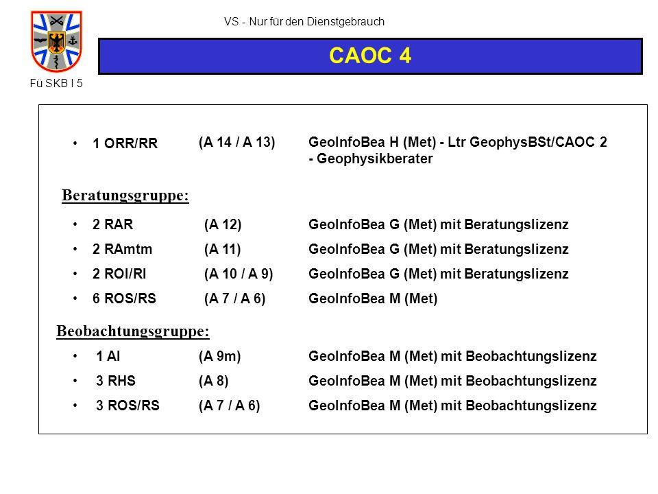 VS - Nur für den Dienstgebrauch CAOC 4 2 RAR 2 RAmtm 2 ROI/RI 6 ROS/RS (A 12) (A 11) (A 10 / A 9) (A 7 / A 6) GeoInfoBea G (Met) mit Beratungslizenz G
