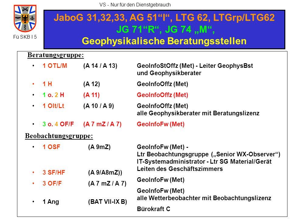 VS - Nur für den Dienstgebrauch JaboG 31,32,33, AG 51I, LTG 62, LTGrp/LTG62 JG 71R, JG 74 M, Geophysikalische Beratungsstellen 1 OTL/M 1 H 1 o. 2 H 1