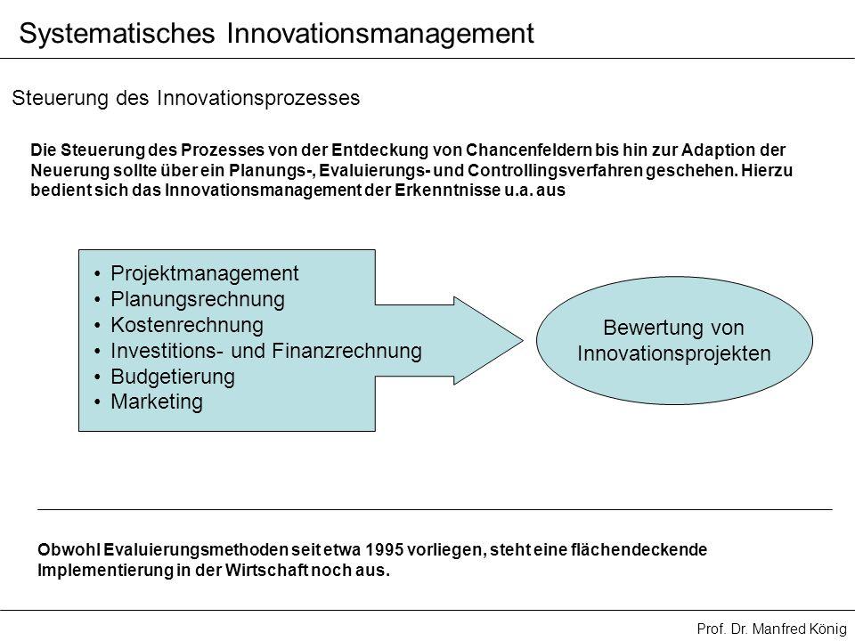 Prof. Dr. Manfred König Systematisches Innovationsmanagement Steuerung des Innovationsprozesses Die Steuerung des Prozesses von der Entdeckung von Cha