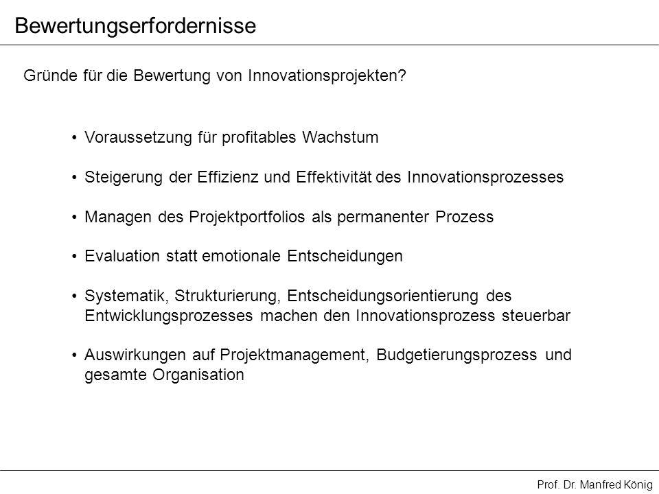 Prof. Dr. Manfred König Bewertungserfordernisse Gründe für die Bewertung von Innovationsprojekten? Voraussetzung für profitables Wachstum Steigerung d