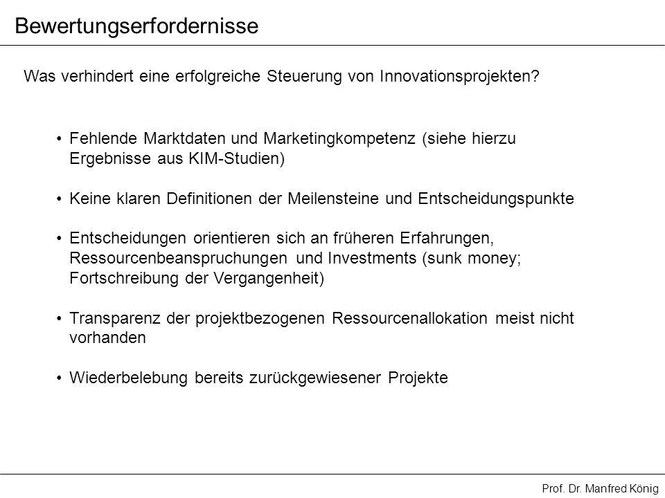 Prof. Dr. Manfred König Was verhindert eine erfolgreiche Steuerung von Innovationsprojekten? Fehlende Marktdaten und Marketingkompetenz (siehe hierzu