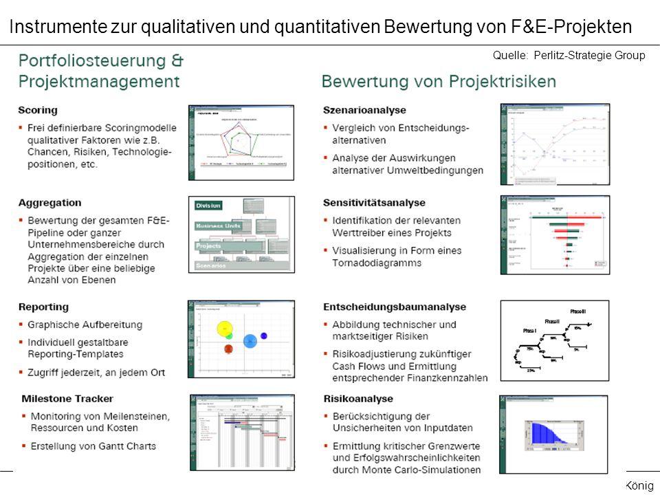 Prof. Dr. Manfred König Quelle: Perlitz-Strategie Group Instrumente zur qualitativen und quantitativen Bewertung von F&E-Projekten