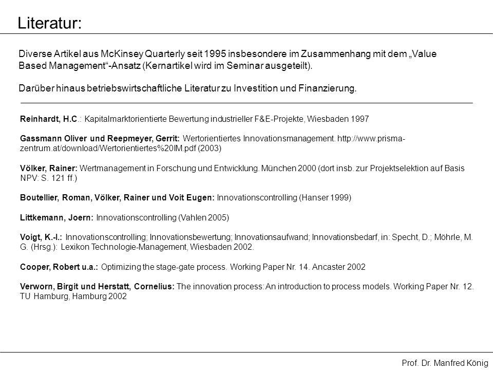 Prof. Dr. Manfred König Reinhardt, H.C.: Kapitalmarktorientierte Bewertung industrieller F&E-Projekte, Wiesbaden 1997 Gassmann Oliver und Reepmeyer, G