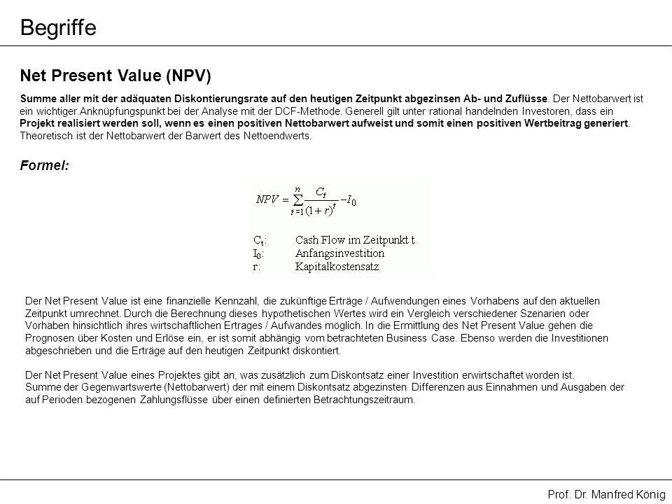 Prof. Dr. Manfred König Net Present Value (NPV) Summe aller mit der adäquaten Diskontierungsrate auf den heutigen Zeitpunkt abgezinsen Ab- und Zuflüss