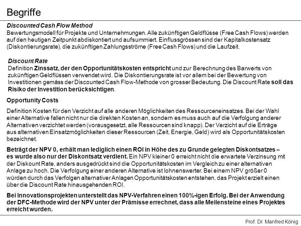 Prof. Dr. Manfred König Discounted Cash Flow Method Bewertungsmodell für Projekte und Unternehmungen. Alle zukünftigen Geldflüsse (Free Cash Flows) we