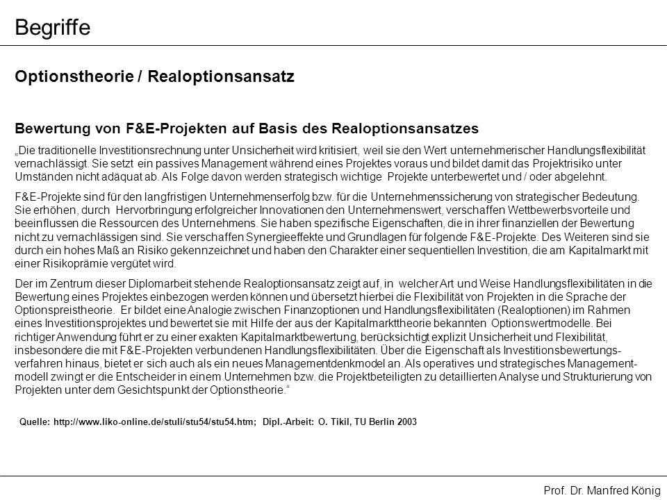 Prof. Dr. Manfred König Begriffe Bewertung von F&E-Projekten auf Basis des Realoptionsansatzes Die traditionelle Investitionsrechnung unter Unsicherhe