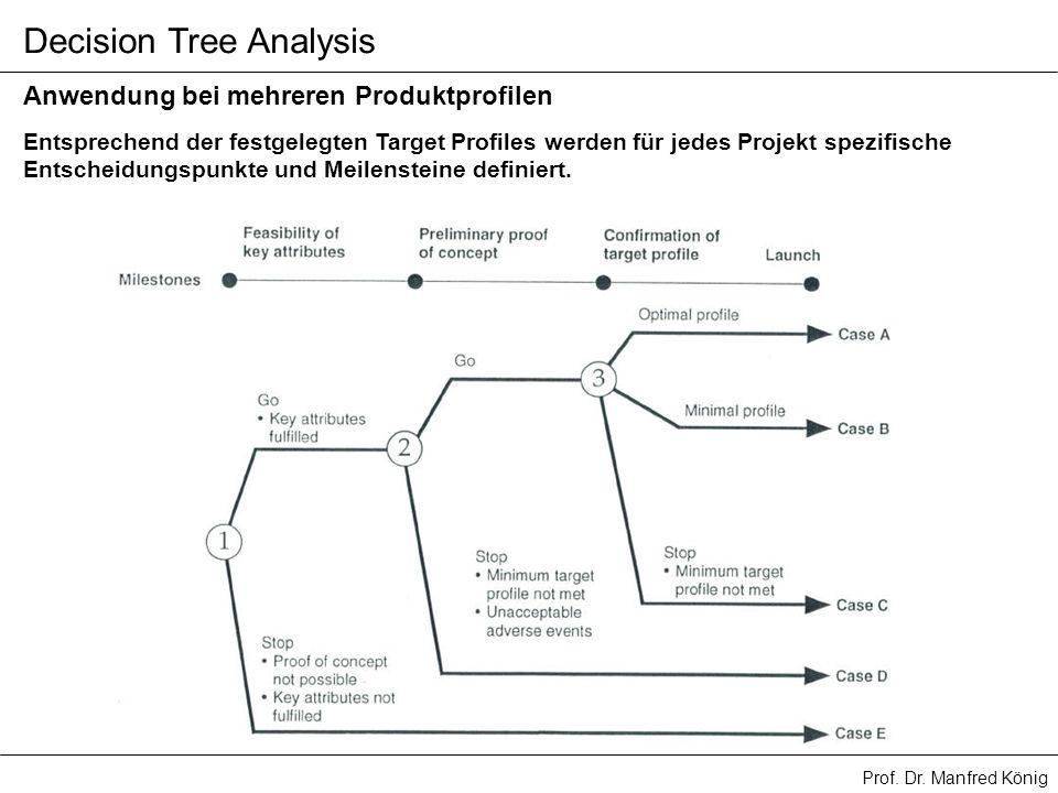 Prof. Dr. Manfred König Decision Tree Analysis Entsprechend der festgelegten Target Profiles werden für jedes Projekt spezifische Entscheidungspunkte