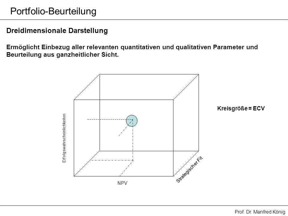 Prof. Dr. Manfred König Portfolio-Beurteilung Dreidimensionale Darstellung NPV Erfolgswahrscheinlichkeiten Strategischer Fit Ermöglicht Einbezug aller