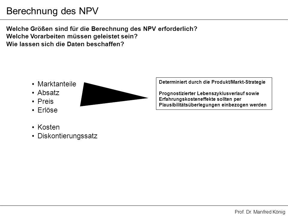 Prof. Dr. Manfred König Berechnung des NPV Welche Größen sind für die Berechnung des NPV erforderlich? Welche Vorarbeiten müssen geleistet sein? Wie l
