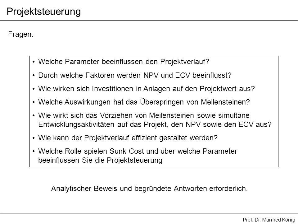 Prof. Dr. Manfred König Projektsteuerung Fragen: Welche Parameter beeinflussen den Projektverlauf? Durch welche Faktoren werden NPV und ECV beeinfluss