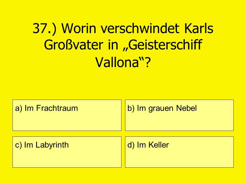 37.) Worin verschwindet Karls Großvater in Geisterschiff Vallona? a) Im Frachtraum c) Im Labyrinth b) Im grauen Nebel d) Im Keller