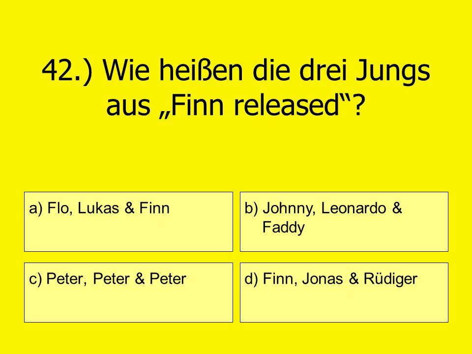 42.) Wie heißen die drei Jungs aus Finn released? a) Flo, Lukas & Finn c) Peter, Peter & Peter b) Johnny, Leonardo & Faddy d) Finn, Jonas & Rüdiger