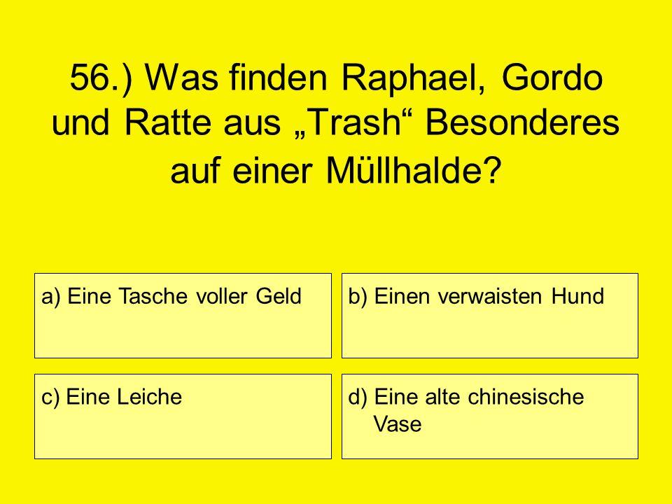 56.) Was finden Raphael, Gordo und Ratte aus Trash Besonderes auf einer Müllhalde? a) Eine Tasche voller Geld c) Eine Leiche b) Einen verwaisten Hund