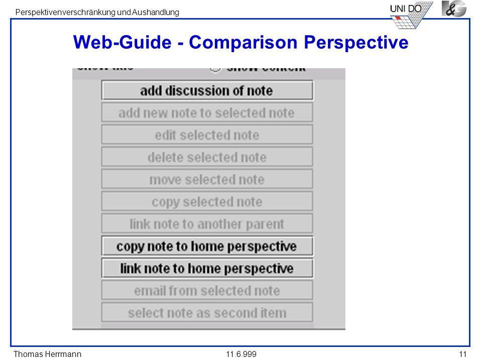 Thomas Herrmann Perspektivenverschränkung und Aushandlung 11.6.99911 Web-Guide - Comparison Perspective