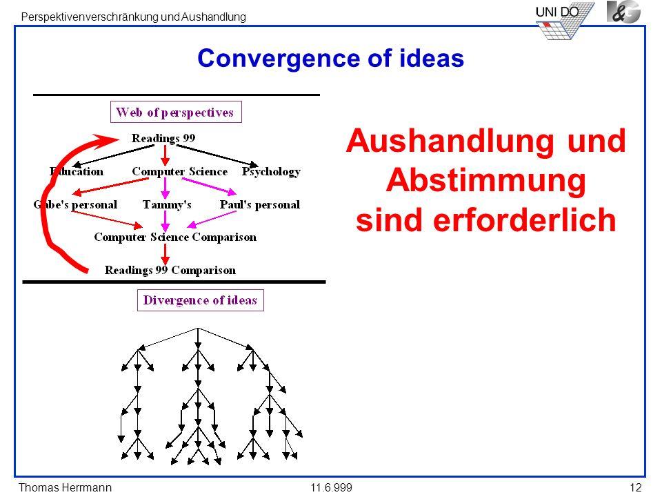 Thomas Herrmann Perspektivenverschränkung und Aushandlung 11.6.99912 Convergence of ideas Aushandlung und Abstimmung sind erforderlich