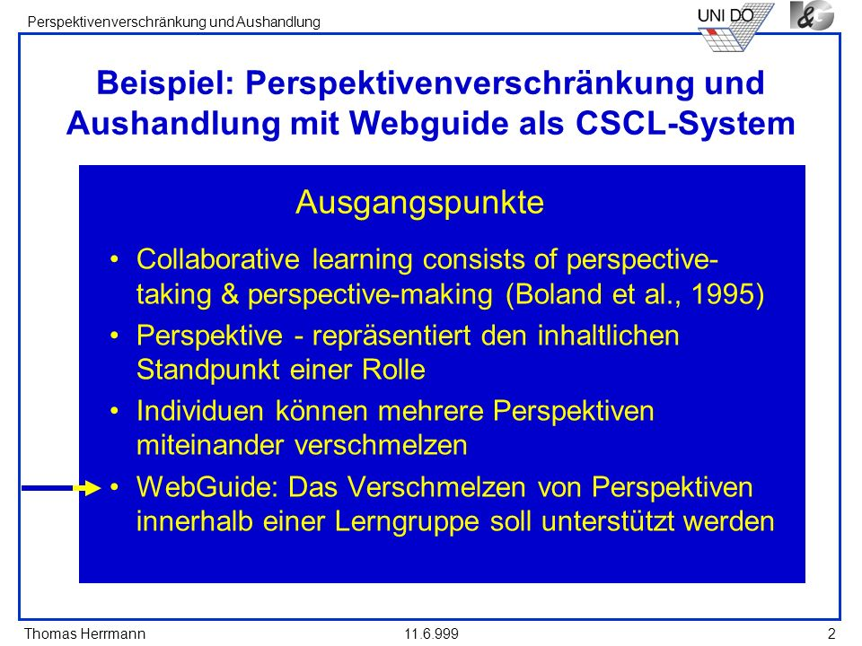 Thomas Herrmann Perspektivenverschränkung und Aushandlung 11.6.99913 Verschiedene Arten von Perspektiven Group perspectives for shared ideas (e.g., class) Personal perspective for ones own point of view Comparison perspectives for browsing others ideas Collaborative Perspective für strukturierte Diskussion Negotiation Perspective für die Selektion einer einheitlichen Sicht des Teams Zusätzlich: