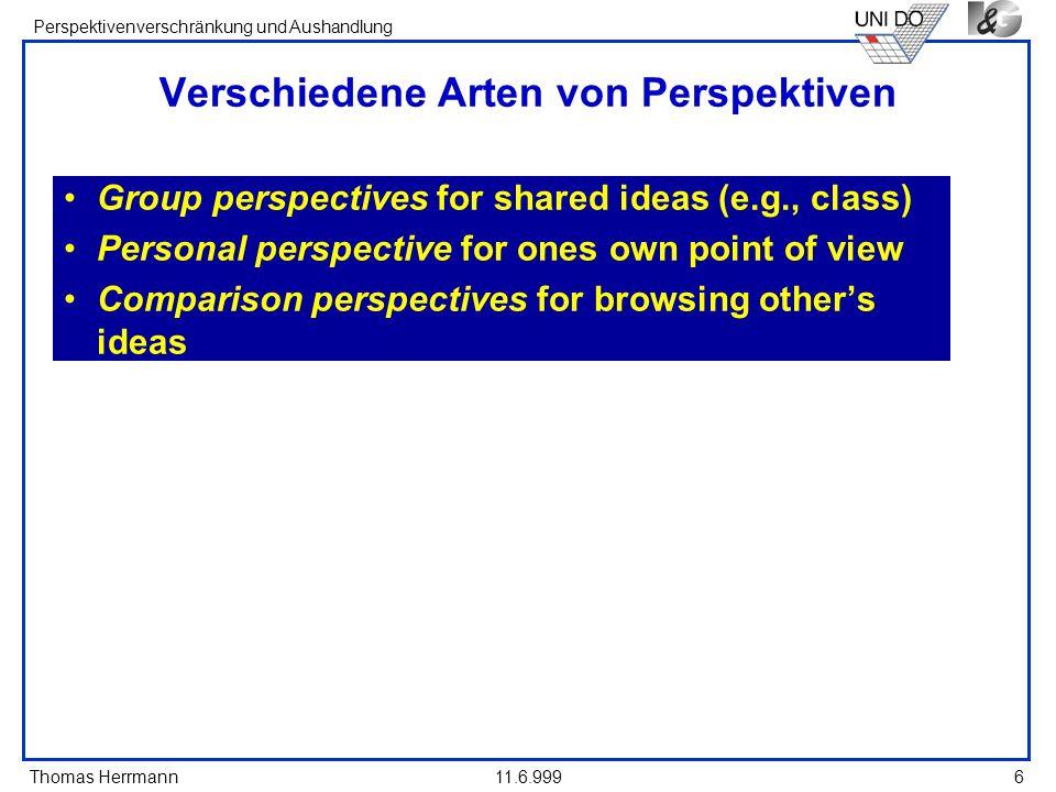 Thomas Herrmann Perspektivenverschränkung und Aushandlung 11.6.9996 Verschiedene Arten von Perspektiven Group perspectives for shared ideas (e.g., cla