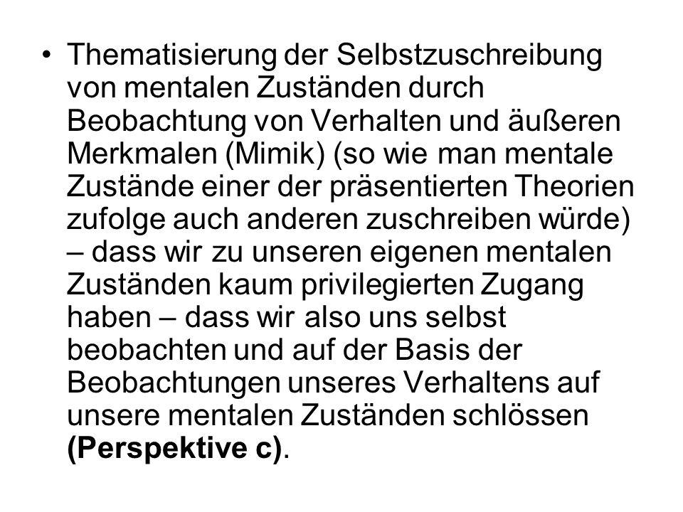 Thematisierung der Selbstzuschreibung von mentalen Zuständen durch Beobachtung von Verhalten und äußeren Merkmalen (Mimik) (so wie man mentale Zuständ