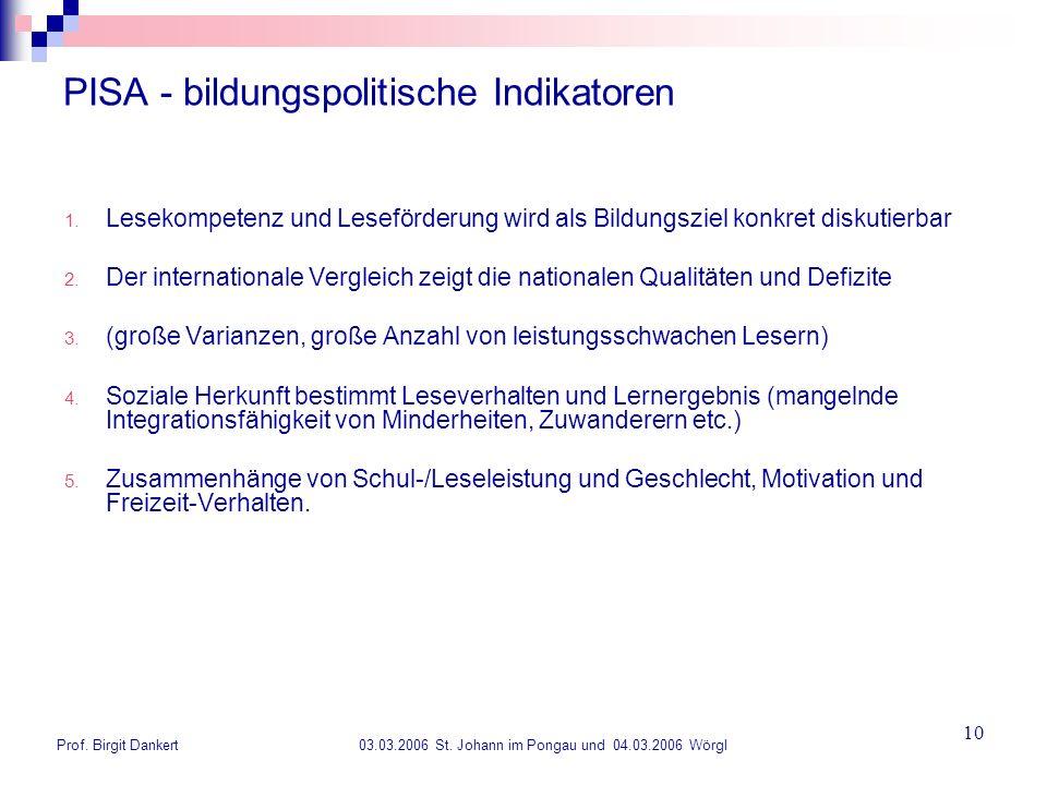 Prof. Birgit Dankert 03.03.2006 St. Johann im Pongau und 04.03.2006 Wörgl 10 PISA - bildungspolitische Indikatoren 1. Lesekompetenz und Leseförderung
