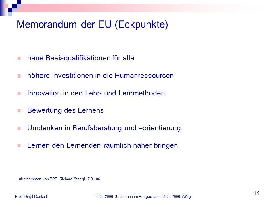 Prof. Birgit Dankert 03.03.2006 St. Johann im Pongau und 04.03.2006 Wörgl 15 Memorandum der EU (Eckpunkte) neue Basisqualifikationen für alle höhere I