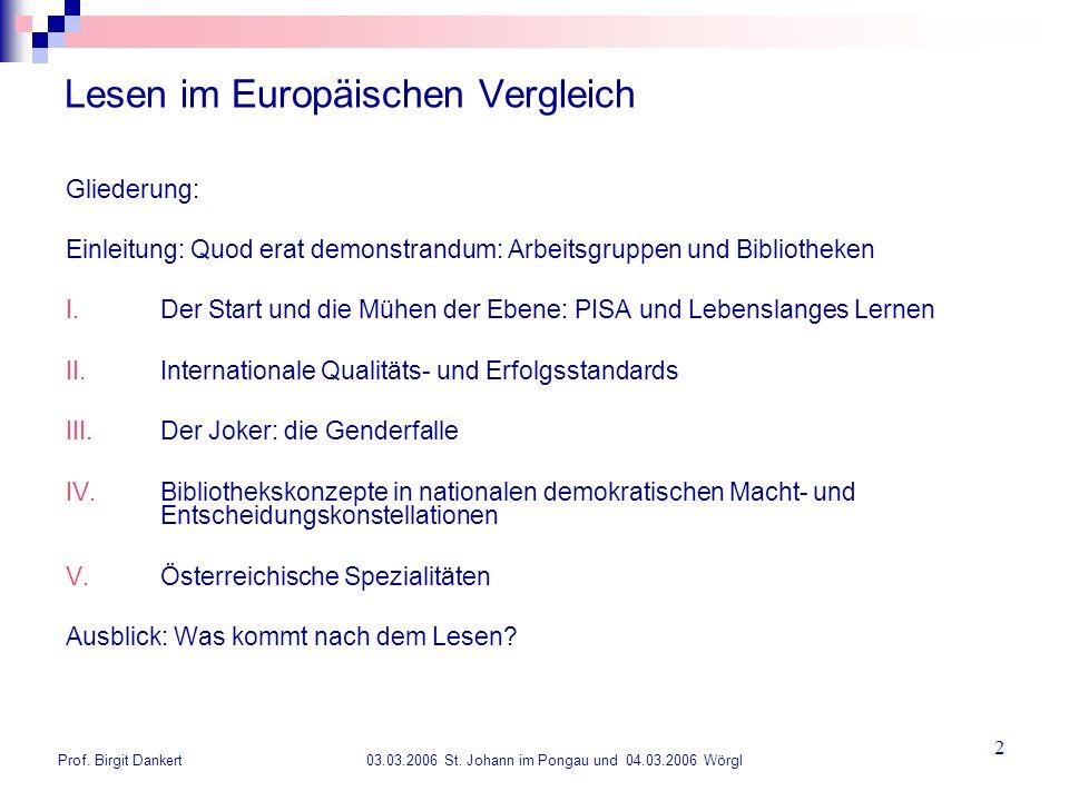 Prof. Birgit Dankert 03.03.2006 St. Johann im Pongau und 04.03.2006 Wörgl 2 Lesen im Europäischen Vergleich Gliederung: Einleitung: Quod erat demonstr