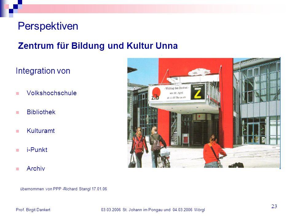 Prof. Birgit Dankert 03.03.2006 St. Johann im Pongau und 04.03.2006 Wörgl 23 Perspektiven Integration von Volkshochschule Bibliothek Kulturamt i-Punkt