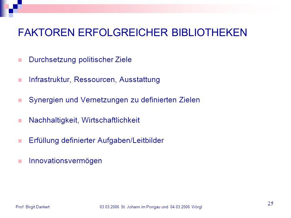 Prof. Birgit Dankert 03.03.2006 St. Johann im Pongau und 04.03.2006 Wörgl 25 FAKTOREN ERFOLGREICHER BIBLIOTHEKEN Durchsetzung politischer Ziele Infras