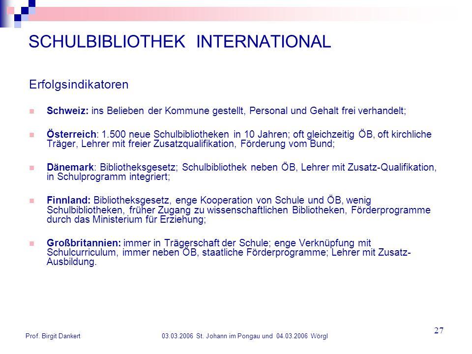Prof. Birgit Dankert 03.03.2006 St. Johann im Pongau und 04.03.2006 Wörgl 27 SCHULBIBLIOTHEK INTERNATIONAL Erfolgsindikatoren Schweiz: ins Belieben de