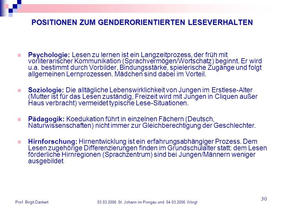 Prof. Birgit Dankert 03.03.2006 St. Johann im Pongau und 04.03.2006 Wörgl 30 POSITIONEN ZUM GENDERORIENTIERTEN LESEVERHALTEN Psychologie: Lesen zu ler