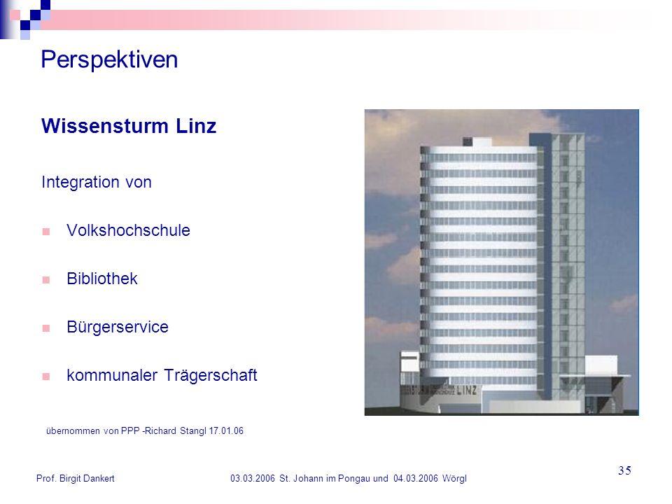 Prof. Birgit Dankert 03.03.2006 St. Johann im Pongau und 04.03.2006 Wörgl 35 Perspektiven Wissensturm Linz Integration von Volkshochschule Bibliothek